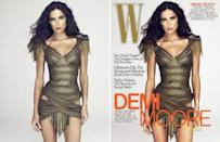 "Demi Moore: In 2009 Demi Moore quashed the airbrushing rumours surrounding her W magazine cover. The actress posted the 'original' picture on her Twitter, insisting the photo never underwent any retouching. She wrote, ""Here is the original image people, my hips were not touched. Don't let these people bulls**t you!"" Photo: W Magazine"