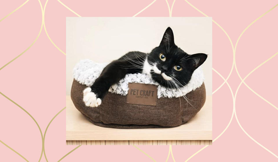 Aww...look at that little muffin all snuggly-wuggly in her soft wittle kitty-cat bed! (Photo: Amazon)