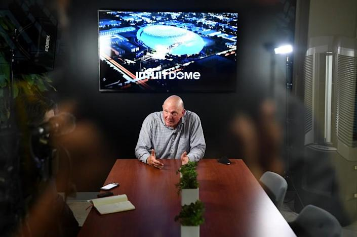 Los Angeles, CA. September 16, 2021: Clippers owner Steve Ballmer taels with the media after a virtual tour of the Intuit Dome, the future home of the Los Angeles Clippers. (Wally Skalij/Los Angeles Times)