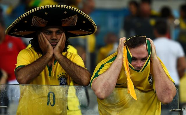 Brazil fins during the infamous 7-1 semifinal loss to Germany at the 2014 World Cup. (Getty)
