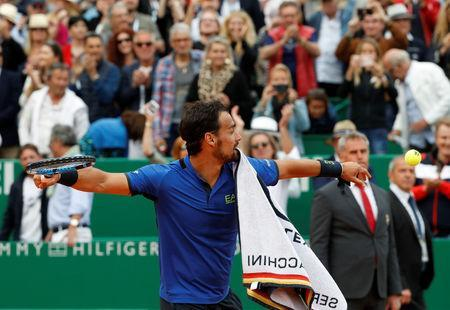 Tennis - ATP 1000 - Monte Carlo Masters - Monte-Carlo Country Club, Roquebrune-Cap-Martin, France - April 20, 2019 Italy's Fabio Fognini celebrates winning his semi final match against Spain's Rafael Nadal REUTERS/Eric Gaillard