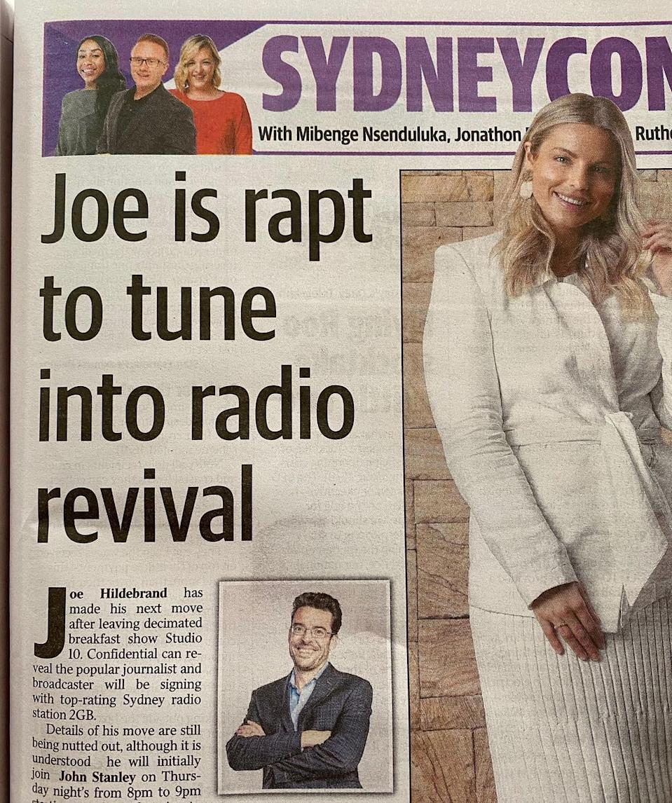 Joe revealed he would be appearing on 2GB on Thursday nights. Photo: Instagram/Joe Hildebrand
