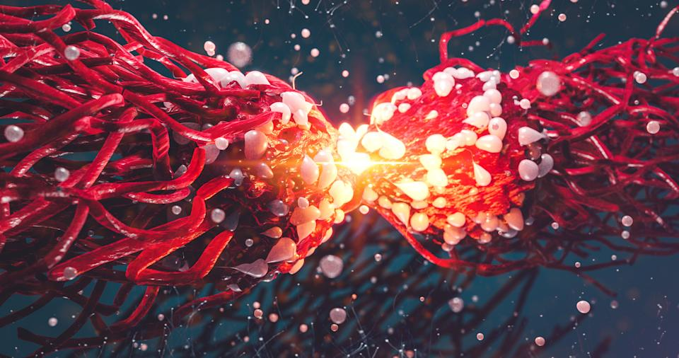 Dividing Cancer Cell Oncology Research Concept 3d illustration proteins with lymphocytes gene editing  , t cells or cancer cells, meiosis, mitosis 3d rendering