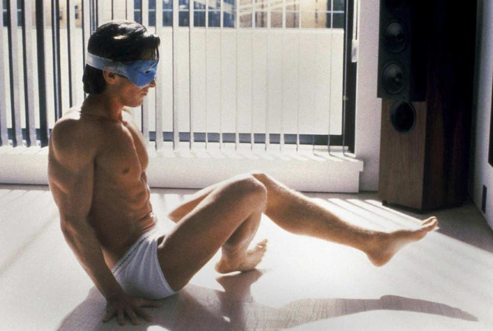 Christian Bale in the workout scene from American Psycho (Lionsgate)