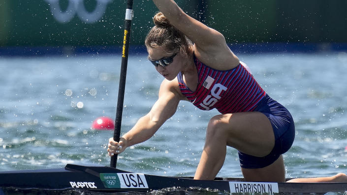Nevin Harrison of the United States competes in the women's canoe single 200m heat at the 2020 Summer Olympics, Wednesday, Aug. 4, 2021, in Tokyo, Japan. (AP Photo/Kirsty Wigglesworth)