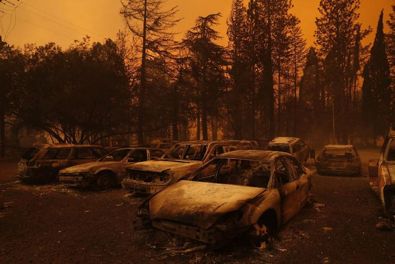 Burned vehicles during the Camp Fire in Paradise, Calif. on Nov. 8.