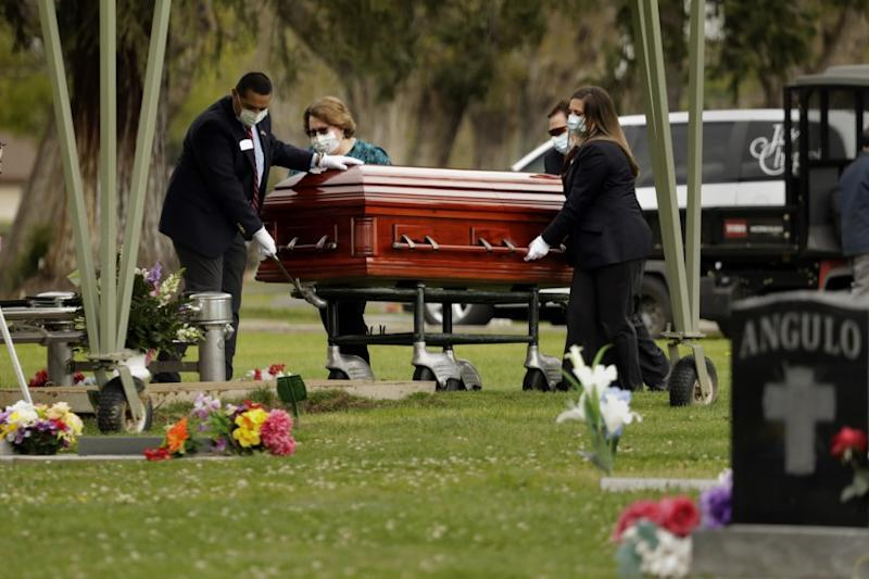 A funeral is held for coronavirus Covid 19 victim Wanda DeSelle, age 76 in Madera.