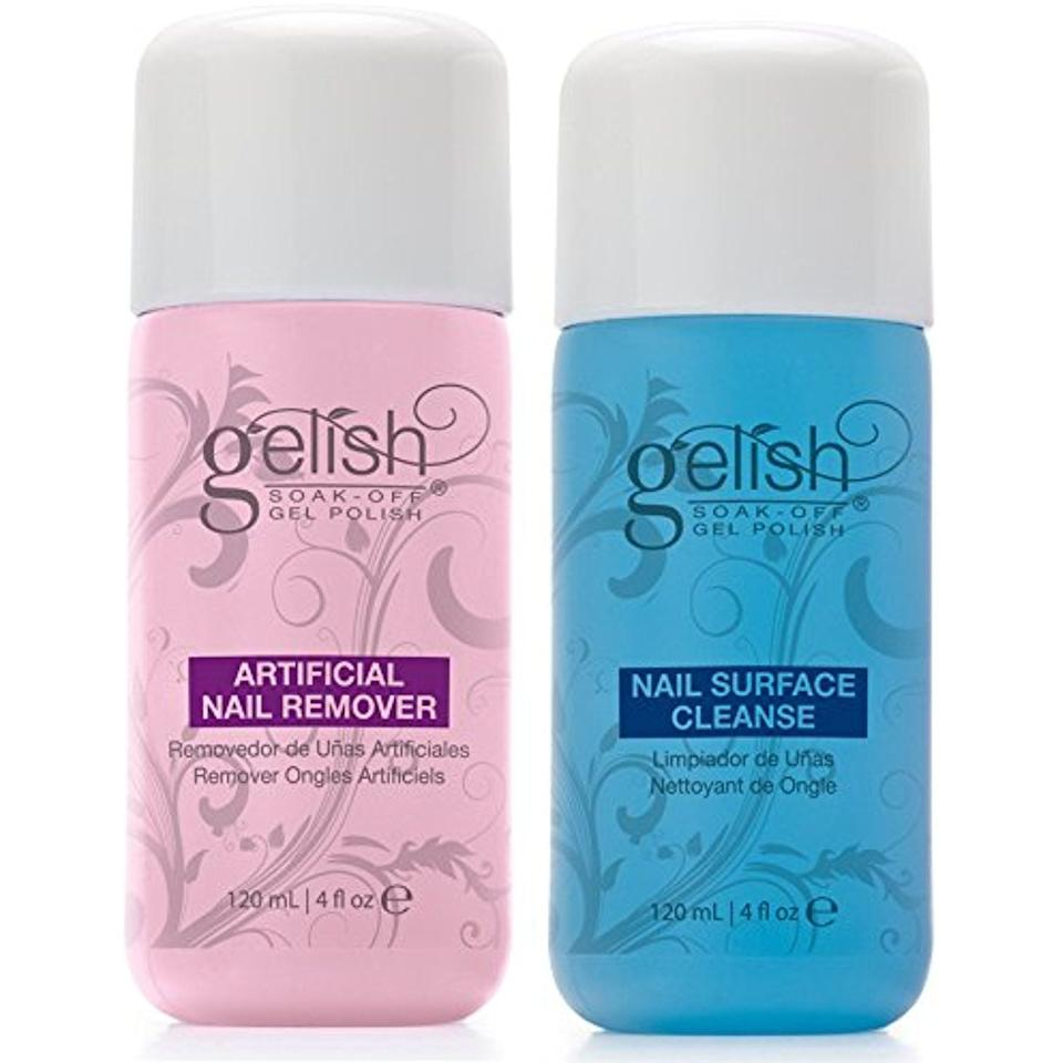 """<p>Think of the <a href=""""https://www.popsugar.com/buy/Gelish-Nail-Polish-Remover-Cleanser-361061?p_name=Gelish%20Nail%20Polish%20Remover%20and%20Cleanser&retailer=amazon.com&pid=361061&price=24&evar1=bella%3Auk&evar9=45206847&evar98=https%3A%2F%2Fwww.popsugar.com%2Fbeauty%2Fphoto-gallery%2F45206847%2Fimage%2F45206849%2FGelish-Nail-Polish-Remover-Cleanser&list1=beauty%20products%2Cmanicure%2Cnails%2Cartificial%20nails&prop13=api&pdata=1"""" rel=""""nofollow"""" data-shoppable-link=""""1"""" target=""""_blank"""" class=""""ga-track"""" data-ga-category=""""Related"""" data-ga-label=""""https://www.amazon.com/gp/product/B00IEZOB9E/ref=oh_aui_detailpage_o09_s00?ie=UTF8&amp;psc=1"""" data-ga-action=""""In-Line Links"""">Gelish Nail Polish Remover and Cleanser</a> ($24) as the bookends to your manicure. You need the remover to take off your previous polish (it works best with Gelish's gel polish formula, but it will work with whatever brand you're using), and the cleanser is to swipe on after your topcoat. Your nails will be sticky even after you've cured your final coat under the UV lamp, so this will make them nice and shiny.</p>"""
