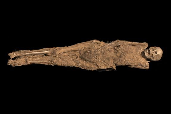 A tattoo was discovered on the thigh of a Sudanese woman who died 1,300 years. This CT scan 3D visualization shows her mummified remains.