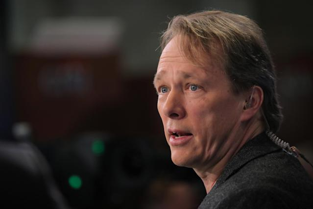 Bruce Linton, Founder and Co-CEO of Canopy Growth, speaks to CNBC on the floor of the New York Stock Exchange (NYSE) in New York, U.S., March 7, 2019. REUTERS/Brendan McDermid