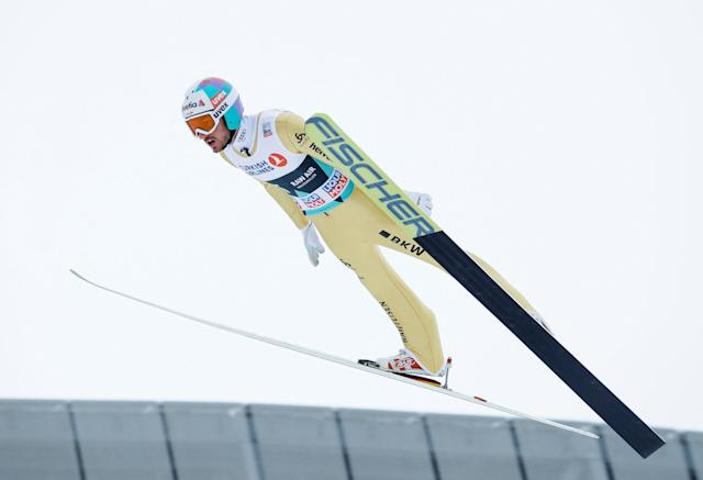 FIS Ski Jumping World Cup - Men's HS134 - Oslo, Norway - March 11, 2018. Killian Peier of Switzerland competes. NTB Scanpix/Terje Bendiksby via REUTERS ATTENTION EDITORS - THIS IMAGE WAS PROVIDED BY A THIRD PARTY. NORWAY OUT. NO COMMERCIAL OR EDITORIAL SALES IN NORWAY.