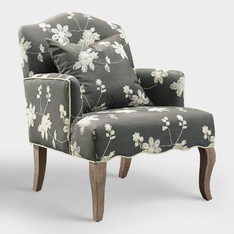 """<p>worldmarket.com</p><p><a href=""""https://go.redirectingat.com?id=74968X1596630&url=https%3A%2F%2Fwww.worldmarket.com%2Fproduct%2Fgray-floral-embroidered-armchair-with-pillow.do&sref=https%3A%2F%2Fwww.countryliving.com%2Fhome-design%2Fg31785674%2Ftop-cozy-chairs%2F"""" rel=""""nofollow noopener"""" target=""""_blank"""" data-ylk=""""slk:CHECK PRICE"""" class=""""link rapid-noclick-resp"""">CHECK PRICE</a></p><p>With its gray linen fabric and floral cream embroidery, this stylish, but casual piece will fit right in at the farmhouse.</p>"""