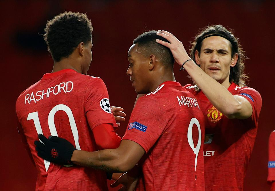 <p>Martial and Cavani celebrate with Rashford</p>Reuters