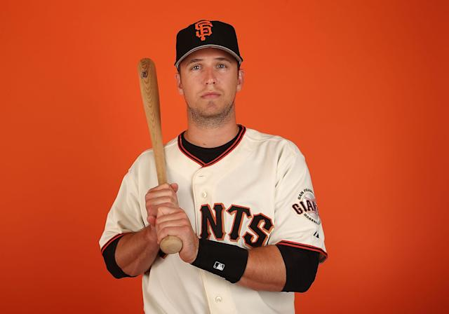 SCOTTSDALE, AZ - FEBRUARY 23: Buster Posey #28 of the San Francisco Giants poses for a portrait during the spring training photo day at Scottsdale Stadium on Febuary 23, 2014 in Scottsdale, Arizona. (Photo by Christian Petersen/Getty Images)