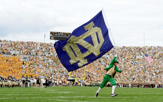 The Notre Dame Fighting Irish mascot carries the school flag on the field before the game against the Michigan State Spartans on September 17, 2005 at Notre Dame Stadium in South Bend, Indiana.