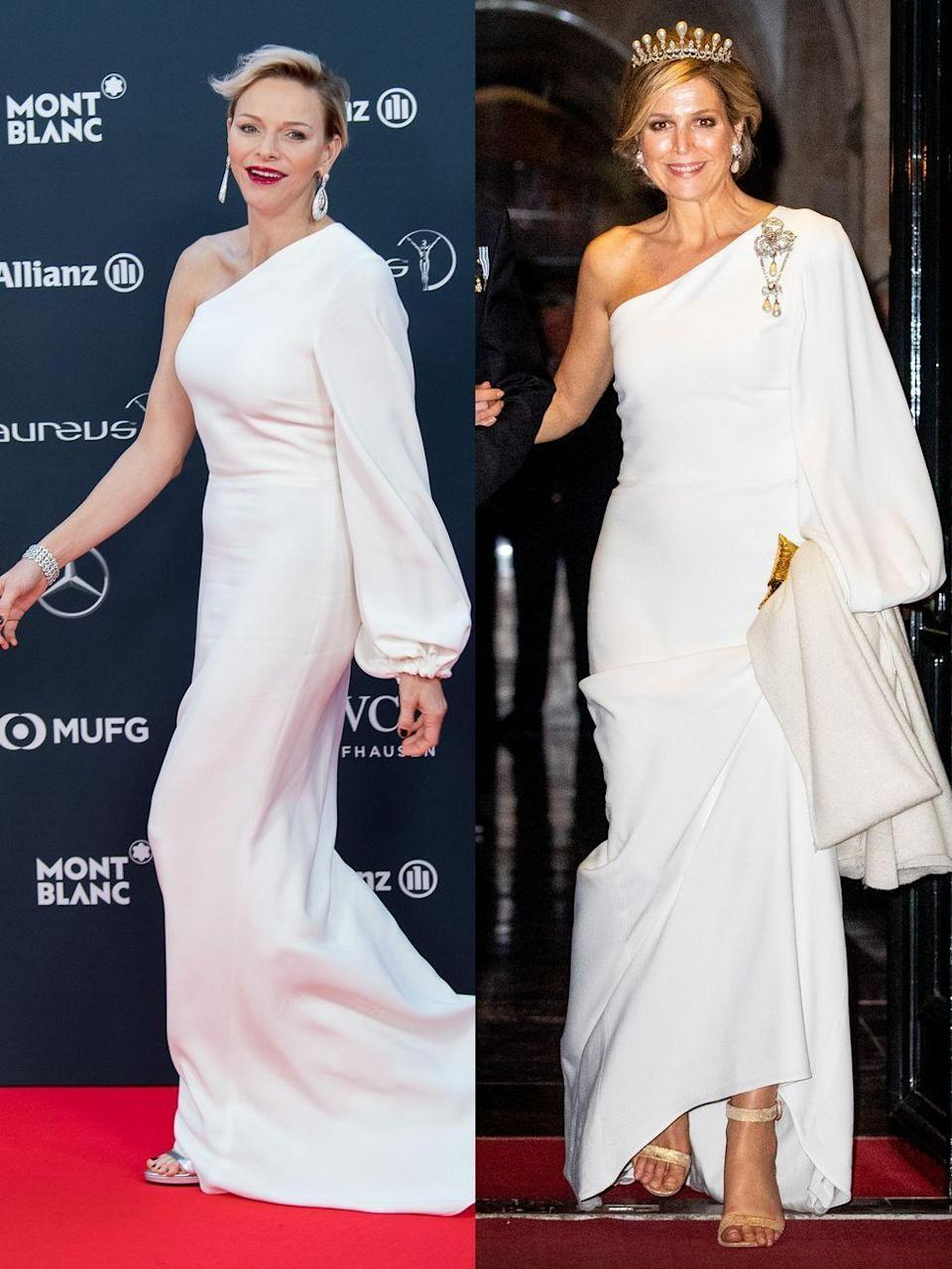 <p>Princess Charlene of Monaco walks on the red carpet before the 2018 Laureus World Sports Awards ceremony at the Sporting Monte-Carlo complex in Monaco on February 27, 2018.</p><p><br>Queen Maxima of The Netherlands leaves the Royal Palace after the annual gala diner for the Diplomatic Corps on April 09, 2019 in Amsterdam, Netherlands.</p>