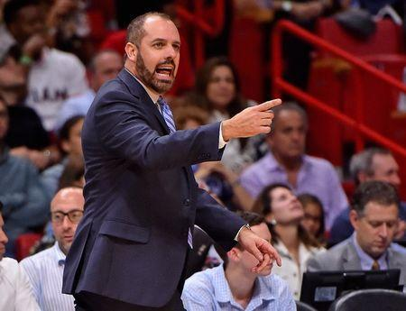 FILE PHOTO: Dec 26, 2017; Miami, FL, USA; Orlando Magic head coach Frank Vogel reacts in the game against the Miami Heat during the second half at American Airlines Arena. Mandatory Credit: Jasen Vinlove-USA TODAY Sports
