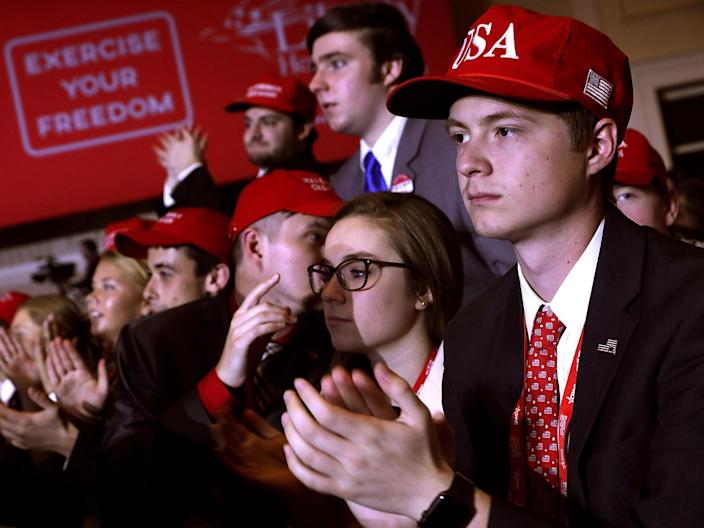 Young supporters cheer at the Conservative Political Action Conference (Chip Somodevilla/Getty)