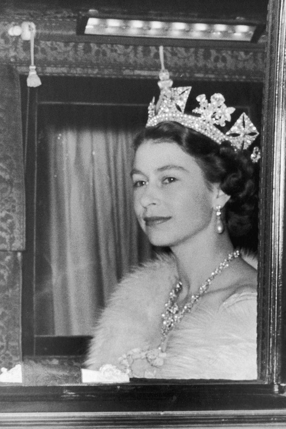 <p>On her way to her first State Opening of Parliament as Queen Elizabeth II. <br></p>