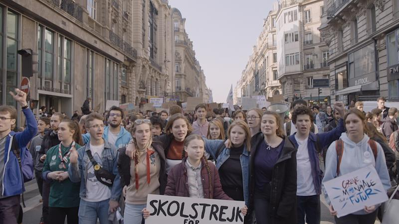 Thunberg leads a rally protesting climate change in the new documentary, 'I Am Greta' (Photo: Hulu)