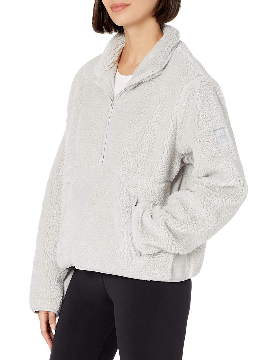 "<br><br><strong>Alo Yoga</strong> Women's Shanti Half Zip Sherpa Jacket, $, available at <a href=""https://amzn.to/3nLAHBI"" rel=""nofollow noopener"" target=""_blank"" data-ylk=""slk:Amazon"" class=""link rapid-noclick-resp"">Amazon</a>"