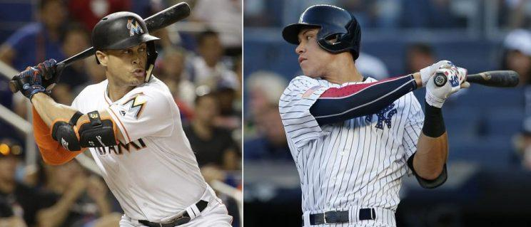 The stage is set for a potential Giancarlo Stanton vs. Aaron Judge championship round in the Home Run Derby. (AP photos)