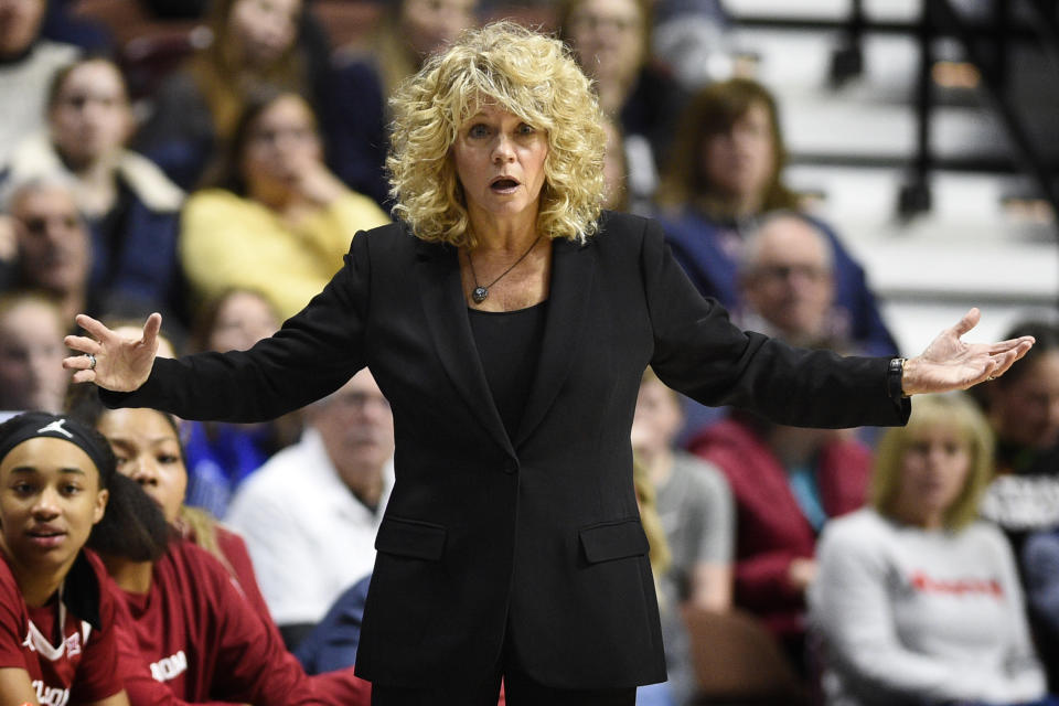 Oklahoma head coach Sherri Coale gestures in the first half of an NCAA college basketball game against Connecticut, Sunday, Dec. 22, 2019, in Uncasville, Conn. (AP Photo/Jessica Hill)