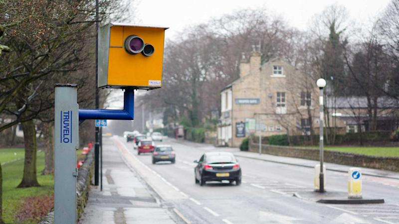 Speed camera by the side of the road in Leeds UK