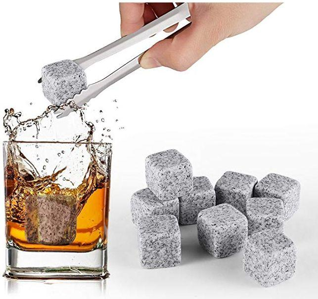 """As every whiskey connoisseur knows, you don't want to dilute your drink by adding ice &mdash; freeze these reusable granite whiskey stones instead. Get a pack of 9 <a href=""""https://www.amazon.ca/SAVFY%C2%AE-Whisky-Chilling-Whiskey-Granite/dp/B01A8I7YQ6/ref=sr_1_4"""" target=""""_blank"""" rel=""""noopener noreferrer"""">on Amazon</a> for $13.99."""