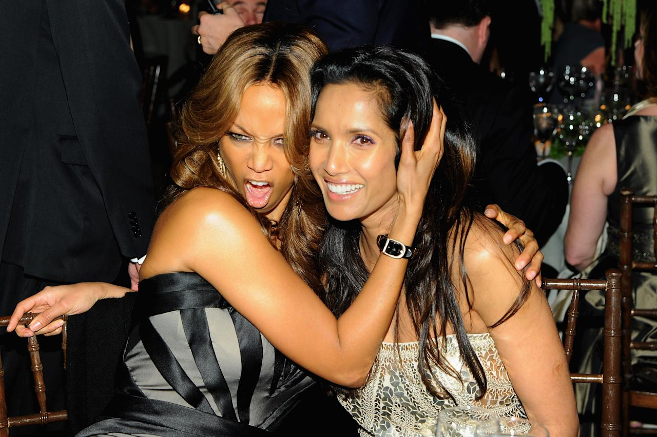 NEW YORK, NY - MARCH 15:  Tyra Banks and Padma Lakshmi attend the Endometriosis Foundation of America's 4th annual Blossom Ball at The New York Public Library - Stephen A. Schwarzman Building on March 15, 2012 in New York City.  (Photo by Larry Busacca/Getty Images)
