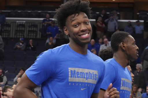 Memphis' James Wiseman before an NCAA college basketball game against Little Rock Wednesday, Nov. 20, 2019, in Memphis, Tenn. (AP Photo/Karen Pulfer Focht)