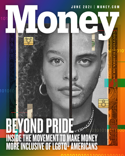 Cover with composite image made from halved male and female facial features, and hundred dollar bill on the rainbow backdrop.