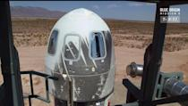 The New Shepard crew capsule is seen prepared for liftoff on its eighth test flight