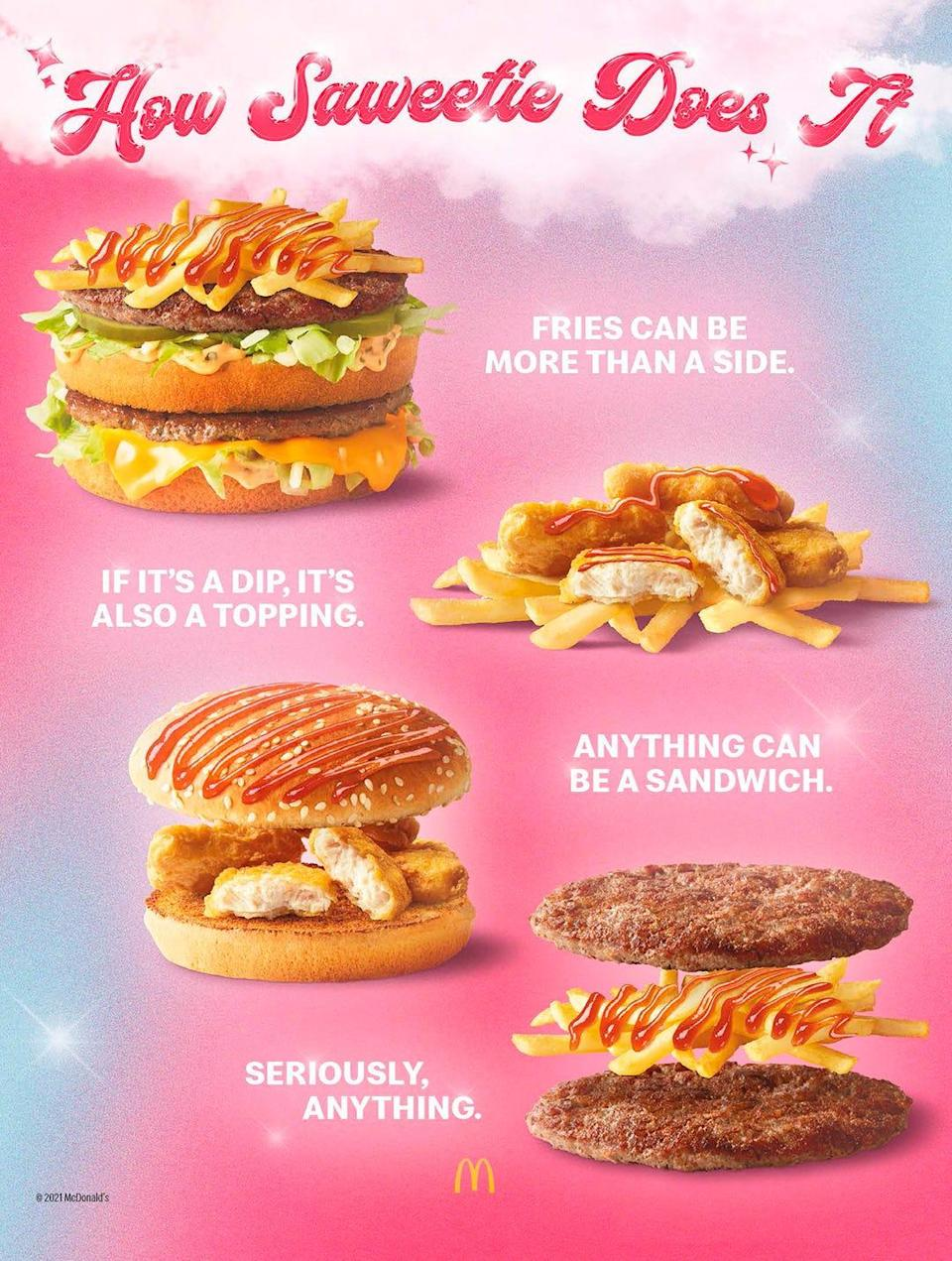 Saweetie has different ways she eats her McDonald's collaboration meal, which will debut Aug. 9 at restaurants nationwide.