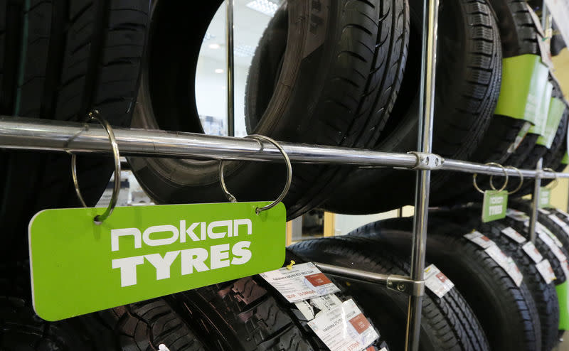 """Nokian tyres are pictured on display at the """"Krepost"""" Toyota dealership in Russia's Siberian city of Krasnoyarsk"""