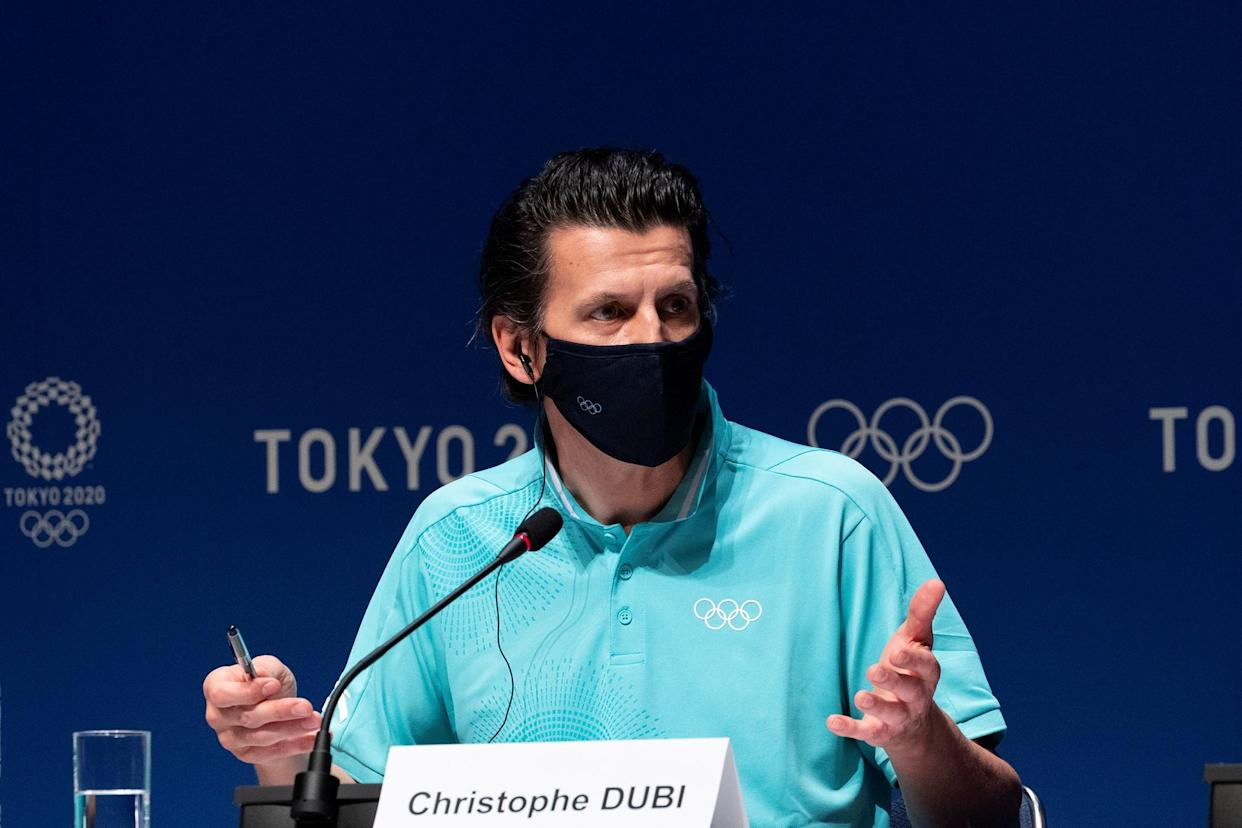 International Olympic Committee's Olympic Games Executive Director Christophe Dubi attends a press conference at the Main Press Center MPC of Tokyo 2020 in Tokyo, Japan, July 18, 2021. (Photo by Du Yu/Xinhua via Getty Images)