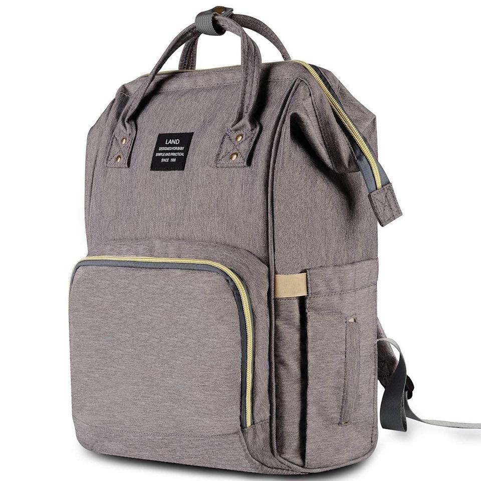 """<p>This water-resistant <span>HaloVa Diaper Bag</span> ($33) is super easy to clean, so you never have to worry about spilling milk or formula on it. If you'll be carrying bottles with you, you'll like that this has insulated pockets. The bag is so popular, it has over <a href=""""https://www.popsugar.com/family/Bestselling-Diaper-Bag-Amazon-46008176"""" class=""""link rapid-noclick-resp"""" rel=""""nofollow noopener"""" target=""""_blank"""" data-ylk=""""slk:12,000 positive reviews on Amazon"""">12,000 positive reviews on Amazon</a>.</p>"""