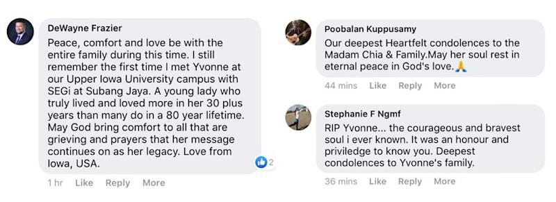 Messages of love and support poured in for Foong's family over social media after hearing of her passing. — Screengrab via Facebook/Yvonne Foong.