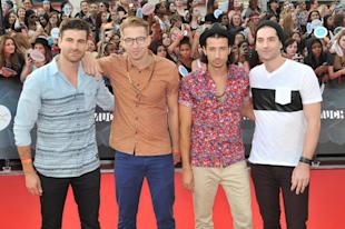 TORONTO, ON - JUNE 15: (L-R) Mark Pellizzer, Alex Tanas, Nasri and Ben Spivak of Magic! arrive at the 2014 MuchMusic Video Awards at MuchMusic HQ on June 15, 2014 in Toronto, Canada. (Photo by Sonia Recchia/Getty Images)