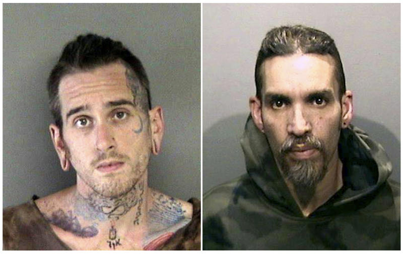 FILE - This combination of June 2017, file booking photos provided by the Alameda County Sheriff's Office shows Max Harris, left, and Derick Almena at Santa Rita Jail in Alameda County, Calif. A jury has decided the fate of two men charged with involuntary manslaughter after prosecutors say they turned a San Francisco Bay Area warehouse into a cluttered maze that trapped 36 partygoers during a fast-moving fire. The verdicts for Derick Almena and Max Harris will be announced Thursday, Sept. 5, 2019, after a three-month trial that drew family and friends of the victims to a packed courtroom, said Almena's attorney, Brian Getz. They face up to 39 years in prison if convicted. (Alameda County Sheriff's Office via AP, File)