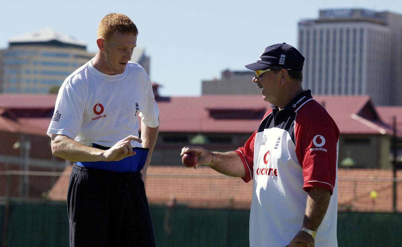 28 Nov 2001:  English academy coach Rod Marsh gives advice to fast bowler Steven Kirby before the one-day match between the England Cricket Board National Academy and the South Australia second eleven played at Adelaide Oval number 2 in Adelaide, Australia.  DIGITAL IMAGE Mandatory Credit: Tony Lewis/ALLSPORT