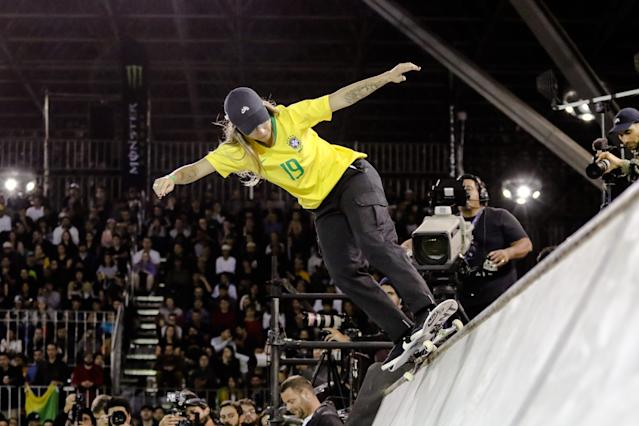 SAO PAULO, SP, BRAZIL - 2019/09/22: The 20-year-old Brazilian Pamela Rosa wins in the final of the skate street World Championship, at the Anhembi exhibition pavilion, in the north of São Paulo. (Photo by Thiago Bernardes/Pacific Press/LightRocket via Getty Images)