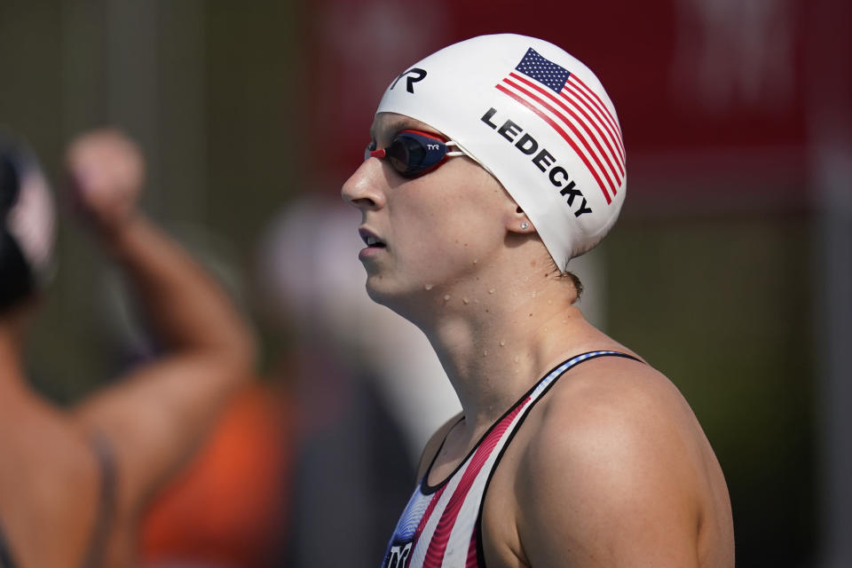 Katie Ledecky prepares to compete in the women's 1500-meter freestyle final at the TYR Pro Swim Series swim meet Sunday, April 11, 2021, in Mission Viejo, Calif. Ledecky finished first. (AP Photo/Ashley Landis)