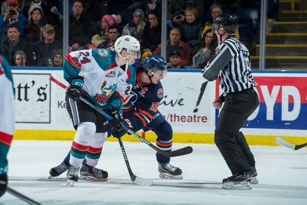 The Kelowna Rockets and Kamloops Blazers face off in a 2017 game.