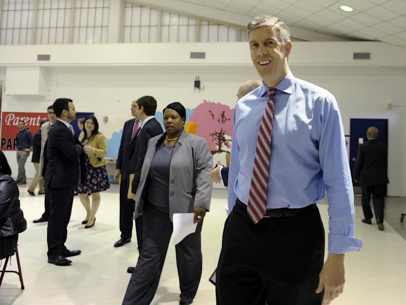 Education Secretary Arne Duncan arrives for a visit to Malcolm X Elementary School in Washington, Thursday, Nov. 7, 2013. Duncan announced that today's fourth and eighth graders are doing better than their predecessors in math and reading. Today's fourth and eighth graders are doing better than their predecessors in math and reading, but despite record high scores it's too soon to start celebrating. The vast majority of students still are not demonstrating solid academic achievement in either subject, according to the Nation's Report Card, released Thursday (AP Photo/Susan Walsh)
