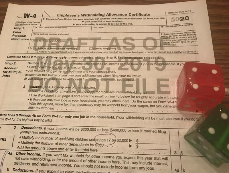 IRS plans to release another draft this summer of a new W-4 Form to be used in 2020. The risk: People could find it to be too complex to calculate how much money should be withheld from their paychecks.