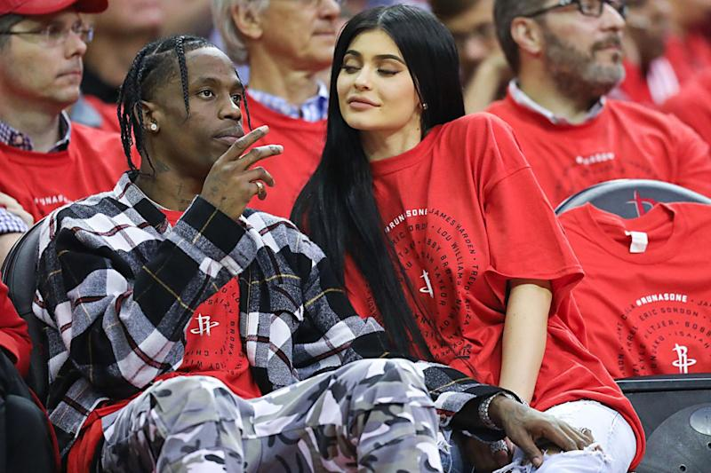 New parents: Travis Scott with Kylie Jenner (Rex)