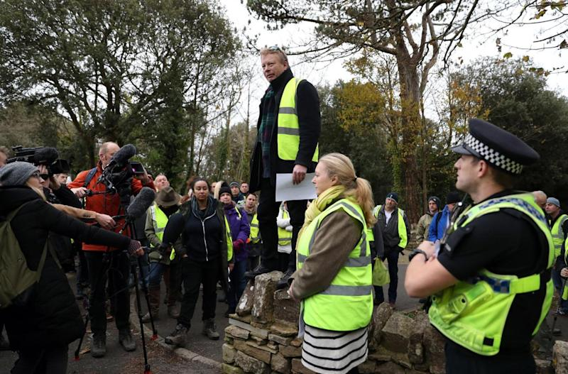 Gaia Pope's father Richard Sutherland thanks volunteers during a search for his daughter who was later found dead (PA)
