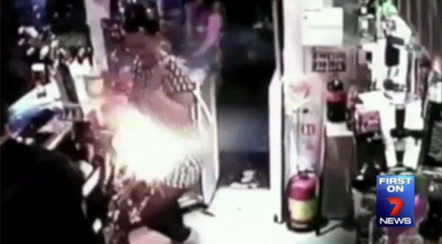The e-ciggarette exploded in the barmaid and the vaper's faces. Source: 7 News