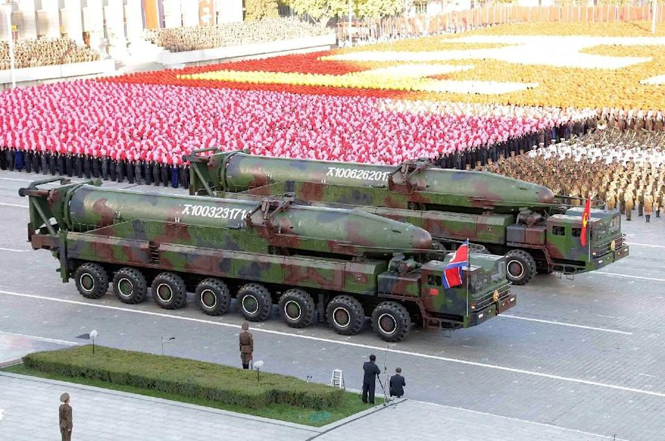 Missiles during a mass military parade at Kim Il-Sung square in Pyongyang. North Korea was marking the 70th anniversary of its ruling Workers' Party (AFP Photo/KNS)